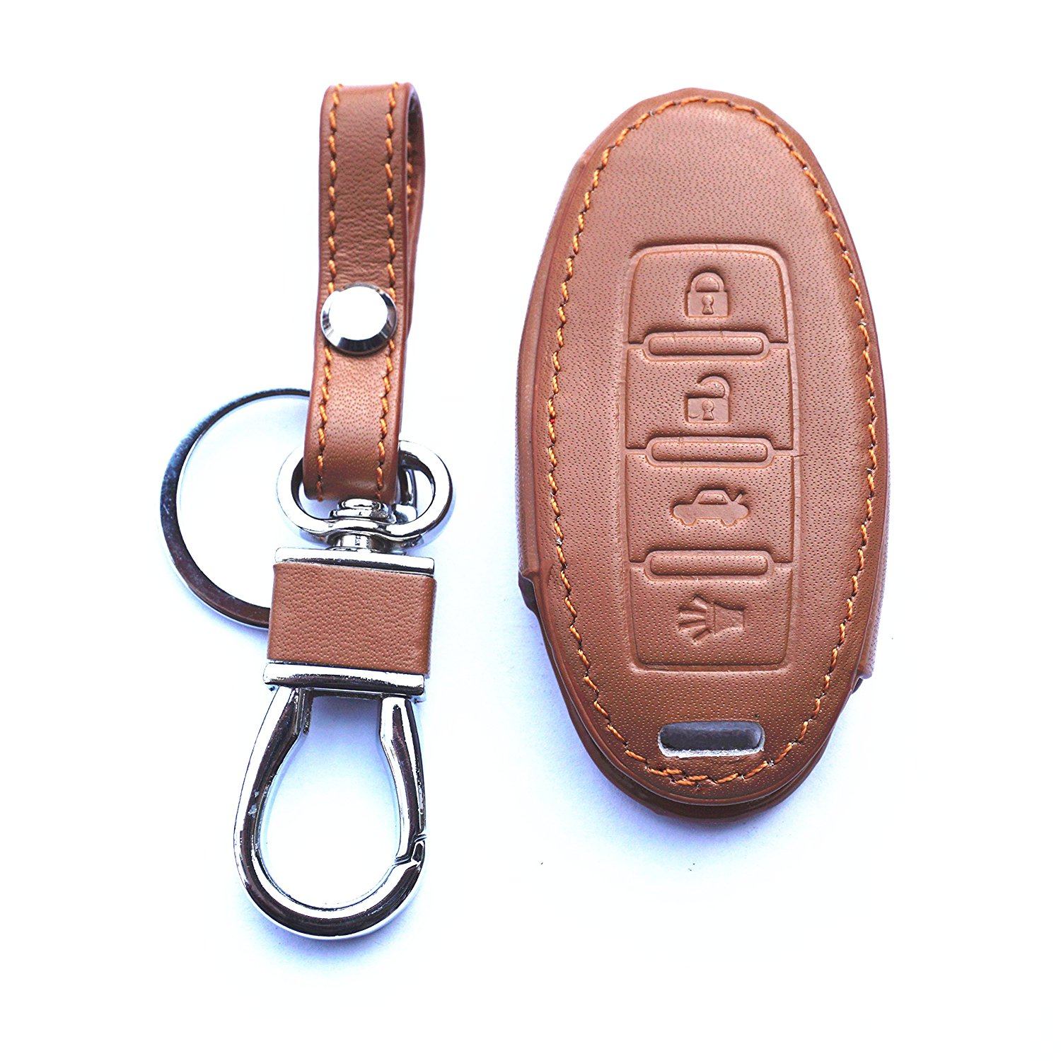 WFMJ Leather 4 Buttons Key Chain Cover Case For Nissan Murano 350Z 370Z GT-R Sentra Armada Rogue Altima Maxima Versa Pathfinder