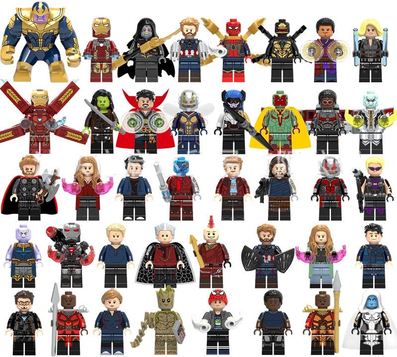 1PCS LegoINGly Marvel Ant Avengers Captain Super Hero Iron Man Hulk Black Panther Man Wasp Building Blocks Toys For Children Set