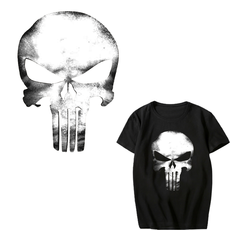 Punisher Patch Iron on Transfer Punk Skull Patches for Clothes DIY T shirt Jacket Washable Vinyl Stickers Applique Thermal Press in Patches from Home Garden