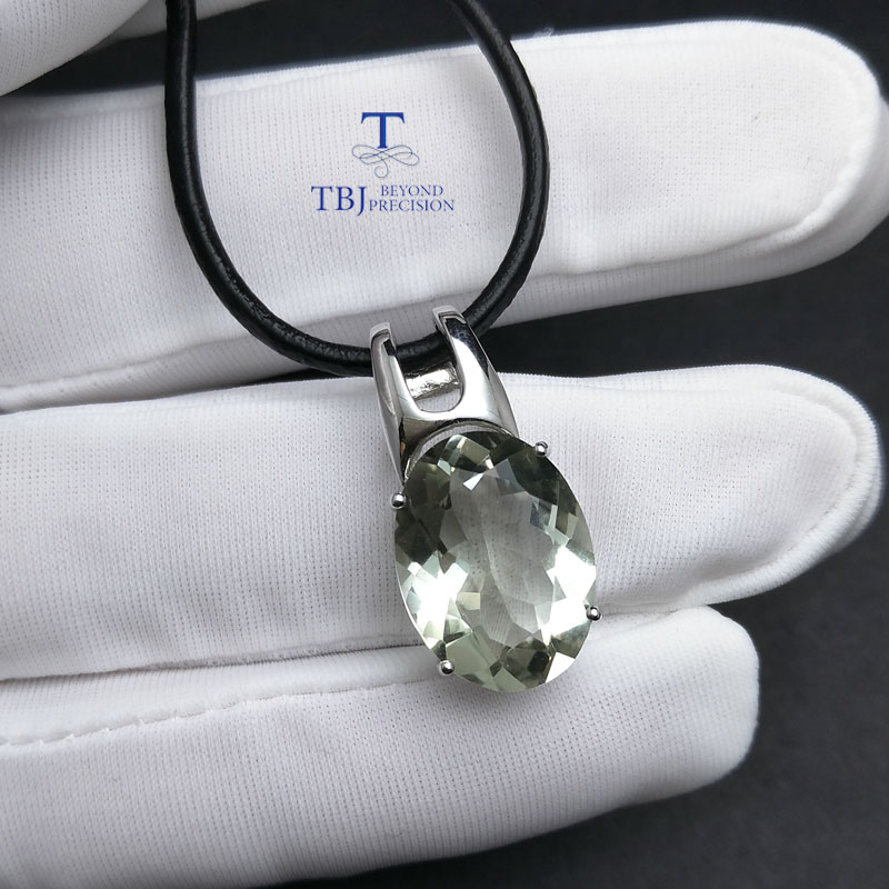 Image 2 - TBJ,simple and elegant pendant with natural green amethyst  gemstone in 925 sterling silver fine jewelry for women