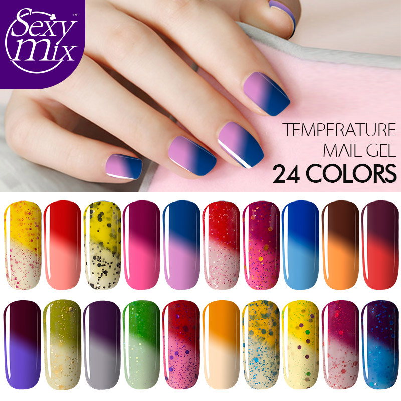 Healthy Safe Chemical Free 9ML 24 Colors Thermal Color Change Nail Gel Polish UV Soak off Temperature Glitter Nail Gel-in Nail Gel from Beauty & ...