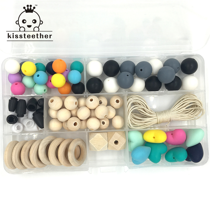 Baby Teether Toys Silicone Teething Kit Round Silicone Bead Wooden Ring Silicone Heart-shaped Bead Blending DIY Nursing Necklace