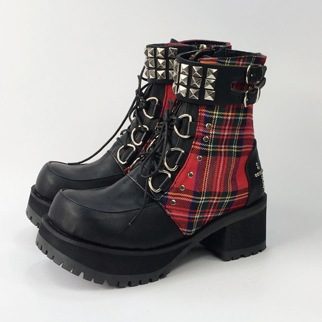 Classic Black Red Plaids Rivet Gothic Punk Rock Lace-up Lolita Ankle Boots  Chunky Heels 856ddff10f34