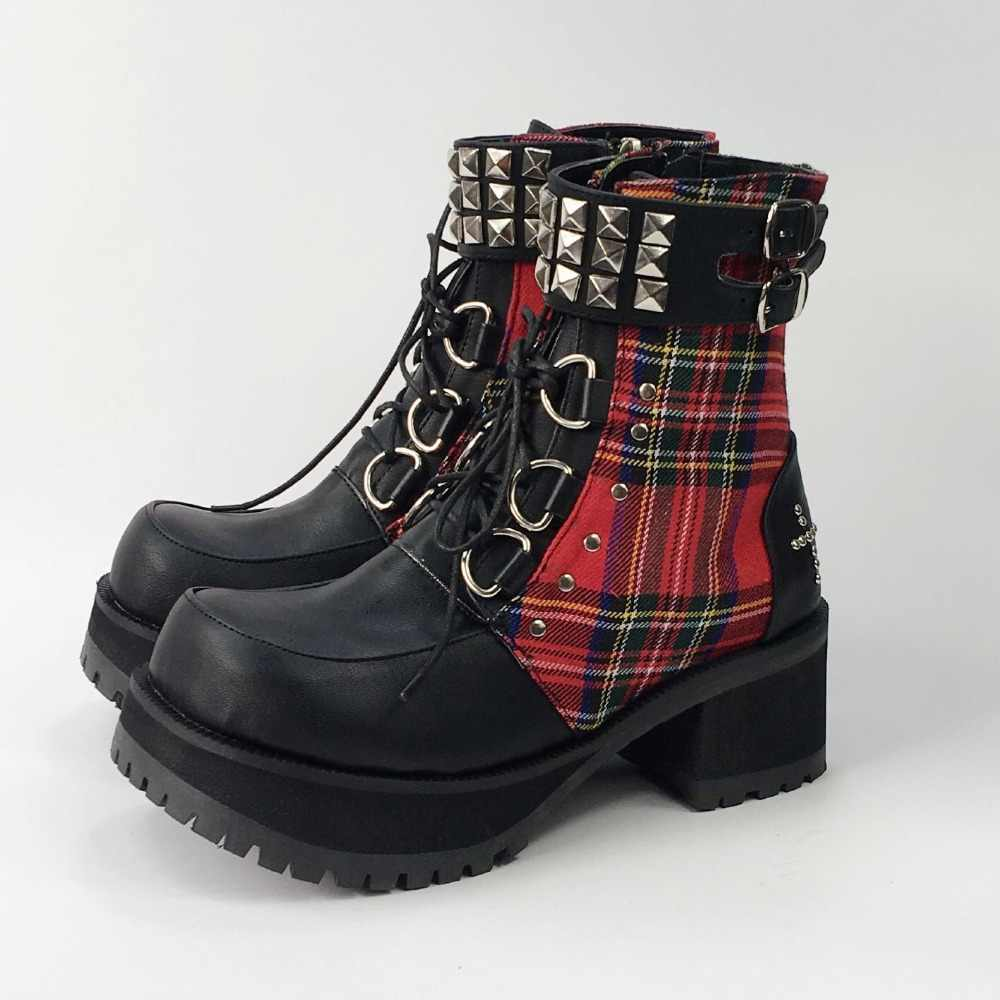 dfe06157ab8 Classic Black Red Plaids Rivet Gothic Punk Rock Lace-up Lolita Ankle Boots  Chunky Heels Thick Platform Punk Lolita Cosplay Boot