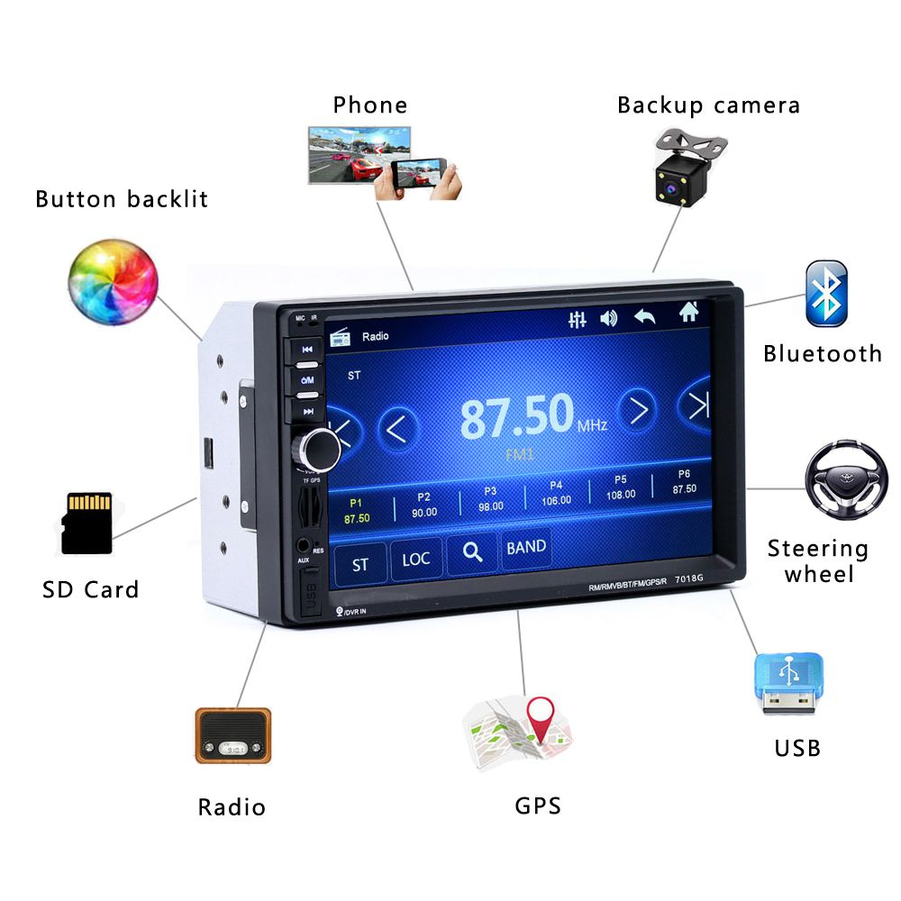 <font><b>7018G</b></font> <font><b>2</b></font> <font><b>Din</b></font> 7 inchHD Touch Screen Car <font><b>Radio</b></font> Multimedia MP5 Player GPS Navigation with Camera and Maps Bluetooth Audio Stereo(E image