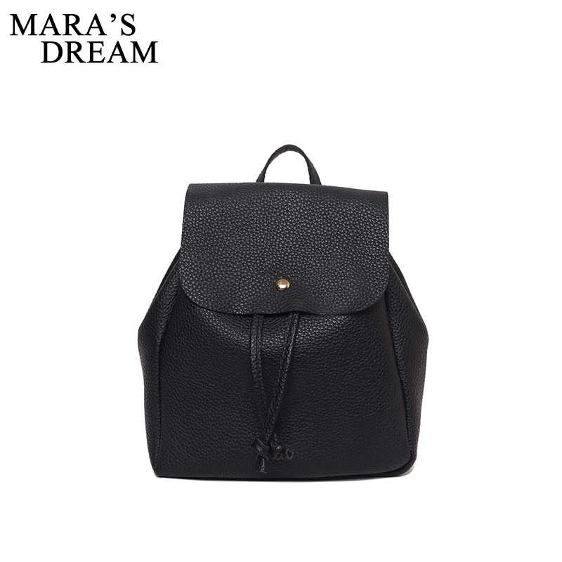 Mara's Dream 2018 Women Backpack High Quality PU Leather Solid Black Color School Bags Teenagers Girls Top-handle Backpacks Girl