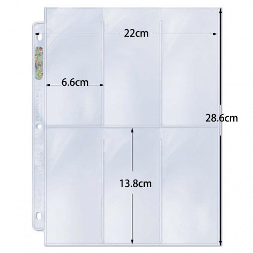 20pages Ultra.pro  6.5x13.3CM ,6 Pocket Transparent UV Protection Hologram Cards Page For Coin Stamp
