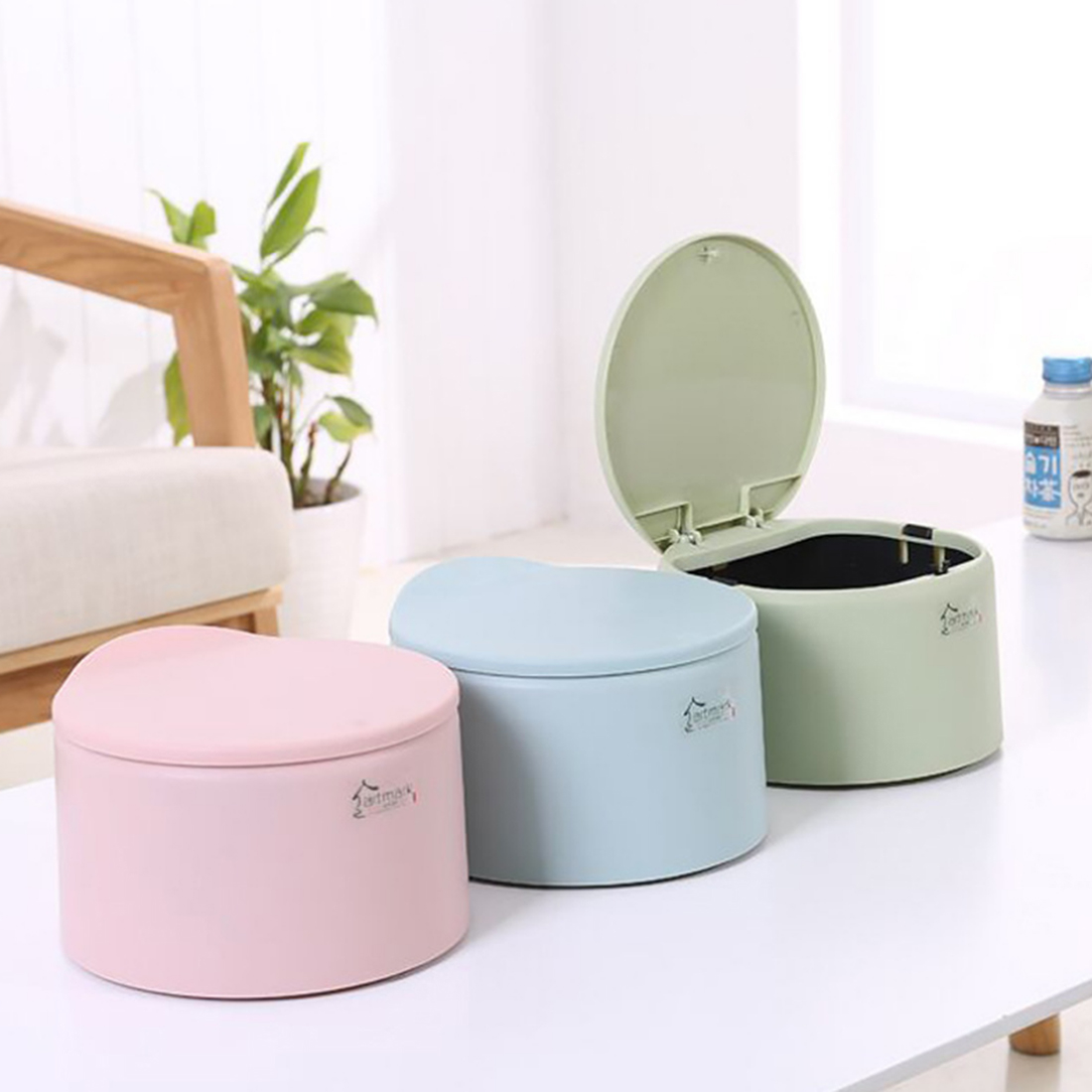 HIPSTEEN Delicate Mini Tabletop Trash Can Plastic Waste Bins Durable Garbage  Can With Snap Cover(
