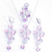 925 rosa naturale gemma gioielli in argento sterling series, donne pendente della collana dell'anello del braccialetto, contenitore di monili anello 6 7 8 9 spedizione