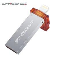 WANSENDA i100 USB Flash Drive For iPhone/iPad/iPod Pen Drive OTG USB 2.0 16GB 32GB USB Stick 64GB 128GB Pendrive For iOS System