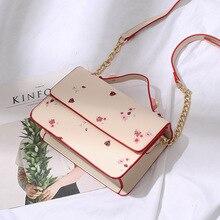 4228853be130 NIGEDU panie torebka mały druk Flap torba damska crossbody torba różowy  kwiat nit kobiet torba na ramię łańcucha skrzynki