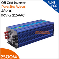 2500W 48VDC 100 110 120VAC Or 220 230 240VAC Pure Sine Wave PV Inverter Off Grid