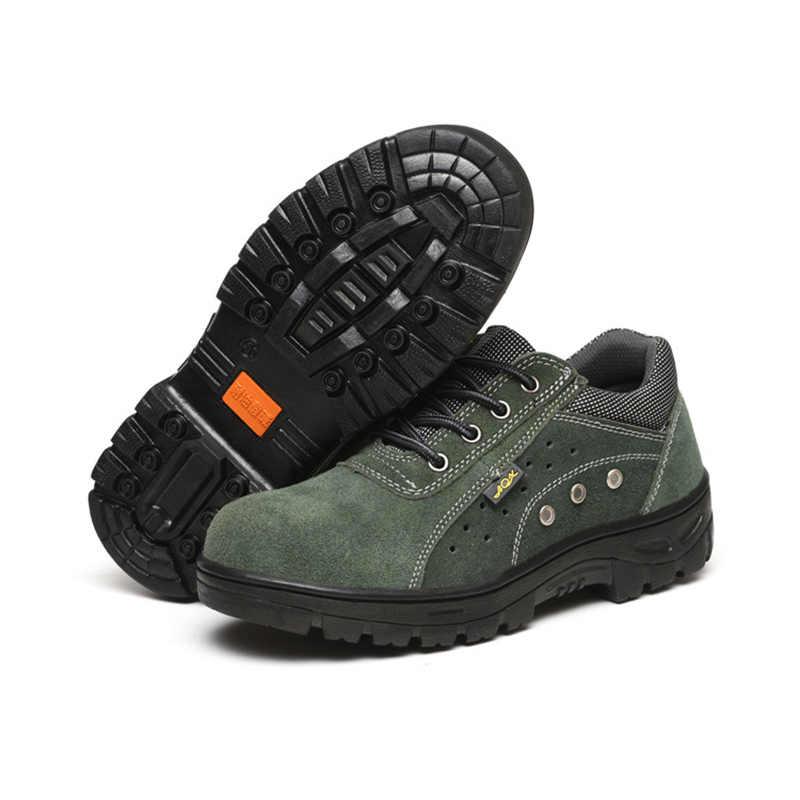 2019 г. Мужская Рабочая страховая обувь кожаная защитная обувь с защитой от проколов износостойкая рабочая обувь со стальным носком на нескользящей подошве