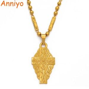 Image 3 - Anniyo Hawaii Flower Gold Color Cross Pendant Ball Beads Chain Necklaces Habesha Micronesia Chuuk Marshall Jewelry #198106P