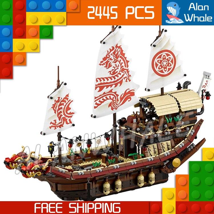 2445pcs New Edition Ninja Destiny's Bounty Dragon Boat 10723 Model Building Blocks Children Toys Bricks Compatible With lego ninja 300 special edition