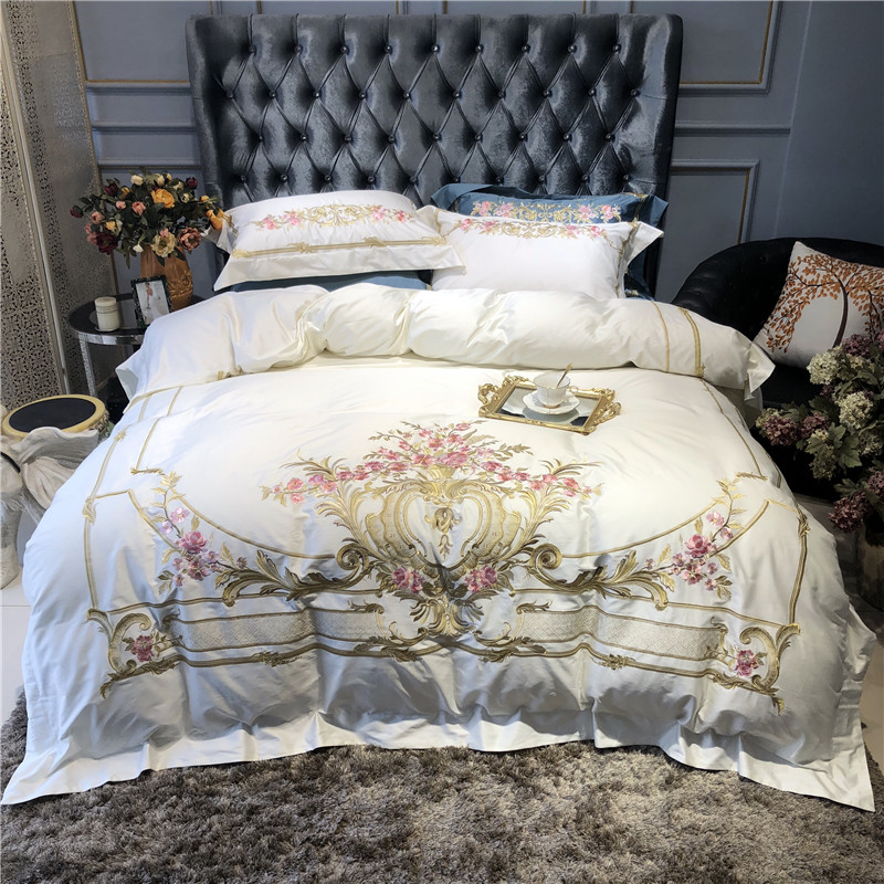 Egyptain Cotton White Duvet Cover Bed sheet set Embroidery Luxury Bedding Set Queen king size Fitted