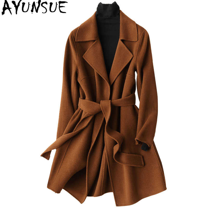 AYUNSUE 2019 Winter Coat Women Warm Wool Coat Female Autumn Long Women's Cashmere Coats Fashion Jacket Outwear 37033 WYQ1175