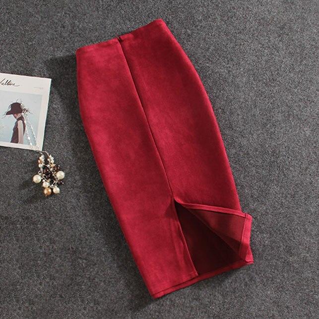Frauen Röcke Wildleder Split Starke Stretchy Rock Weibliche Bleistift Röcke Plus Größe Faldas Mujer