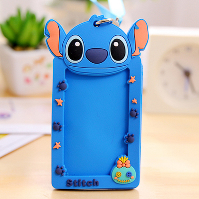 Cute Cartoon Silicone Card ID Holder With Lanyard Credit Card Bus Card Case Key Holder Ring Luggage Tag For Students Kids School