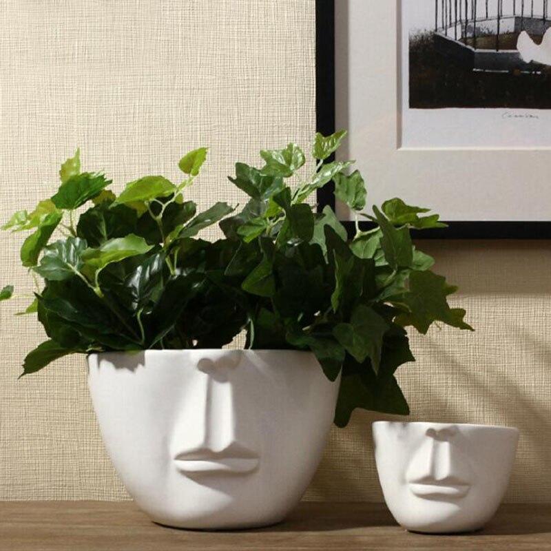 Simple face profile picture multi meat planter silicone mold cement household decoration concrete planter manual mold