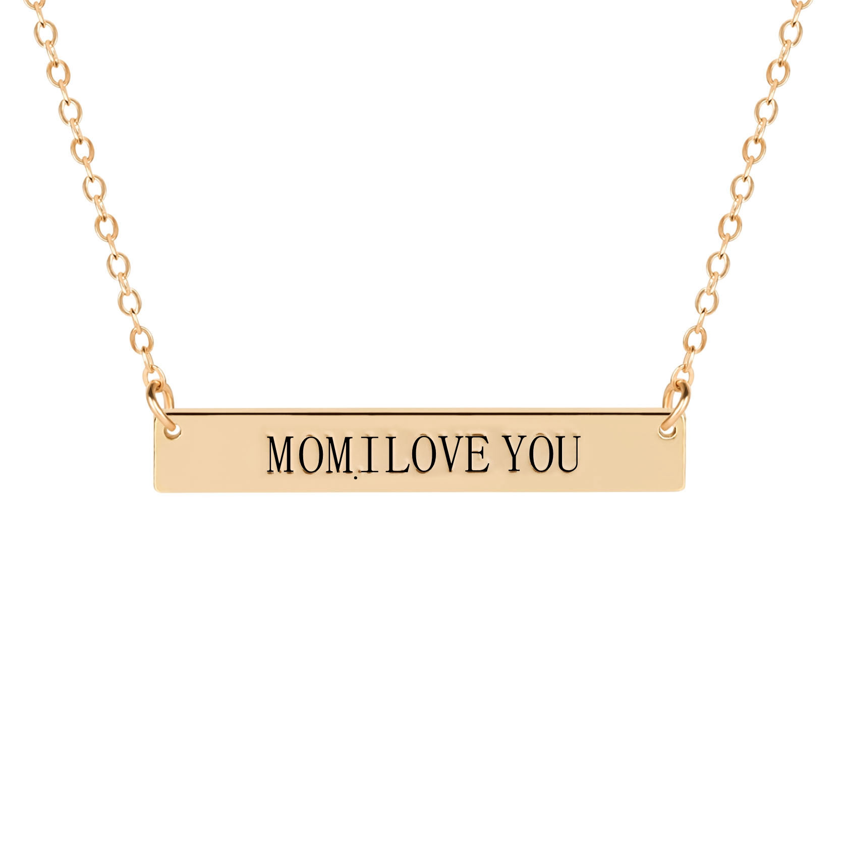 Mom, I Love You ,  Mother Daughter Jewelry Square Bar Clavicle Necklace Pendant Long Chain Necklaces Mother's Day Gift