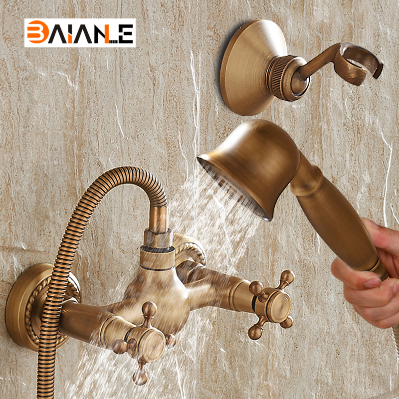 Wall Mounted Classic Bathroom Shower Faucet Bath Faucet Mixer Tap With Hand Shower Head Set free shipping bathroom shower gold color faucet bath faucet mixer tap with hand shower head set wall mounted is698
