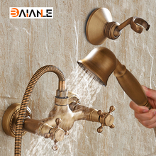 цена на Wall Mounted Classic Bathroom Shower Faucet Bath Faucet Mixer Tap With Hand Shower Head Set