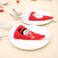 Tableware Cover Christmas Decor Tableware Knife Fork Set Christmas Hat Tool Festival Table Christmas Decoration For Home(China)