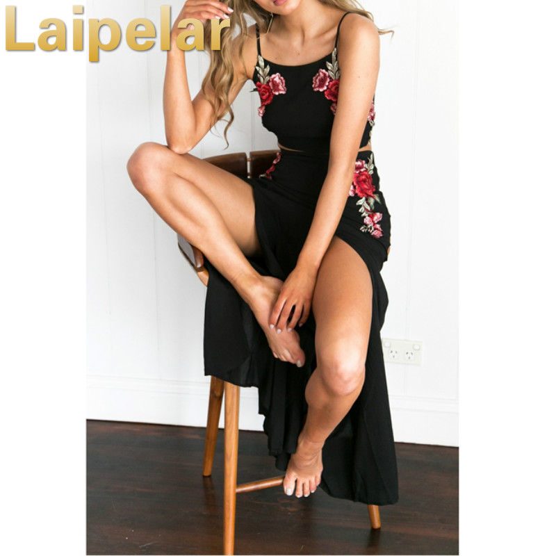 Laipelar Summer Split Two piece set Beach Embroidery Roses Sexy Sleevelesss Tie up Set Women Maix Dress 2 piece set women in Women 39 s Sets from Women 39 s Clothing