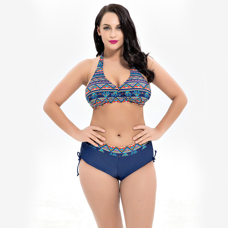 Plus Size Swimwear Women Bikini Set Sexy Two Piece Swimsuit Sexy High Waist Swimming Suit Retro Print Female Bathing Suit 2018 women plus size s 5xl swimsuit print sexy split boxer swimsuit two piece bathing suit summer beach swimwear