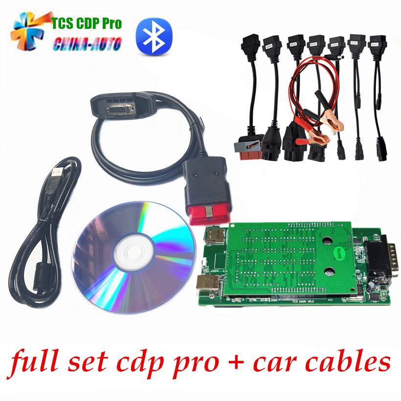 2015.R1 or 2014 R2 new vci cdp with bluetooth SCANNER TCS cdp pro plus with LED 3 IN1 CDP+ Full 8 Car Cable