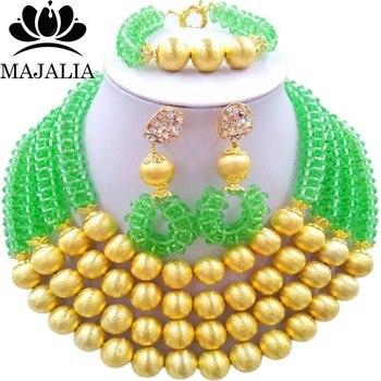 Majalia Fashion Light green Nigerian Wedding African Jewelry Set Crystal Necklace Bride Jewelry Sets Free Shipping 3LI002