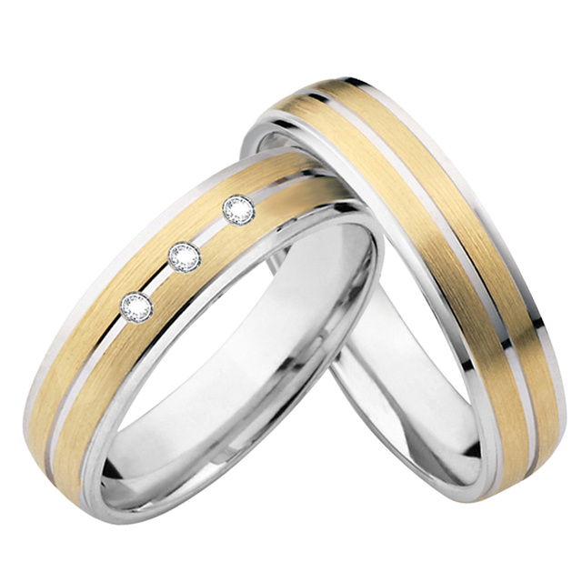 Lovers Alliances Wedding Band Jewelry Ring Pair Bicolor Western Marriage Promise Engagement Couple Rings for women