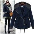 Autumn Winter Women Fashion Jacket Coat Female Zipper Slim Cotton Outwear Coats Casual Dark Blue Warm Jackets Plus Size M-5XL