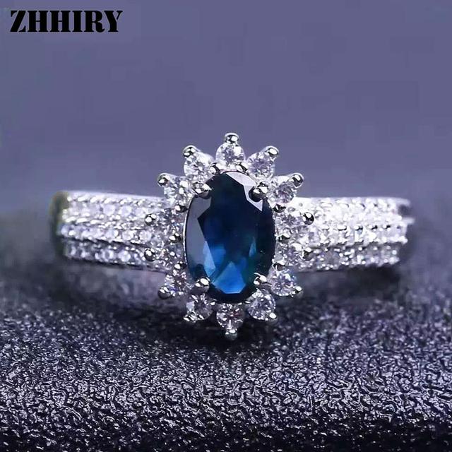 Las mujeres Anillo de Piedra de Zafiro Natural Genuino Sólido Azul Oscuro Plata Joyas Anillos de piedra de Nacimiento