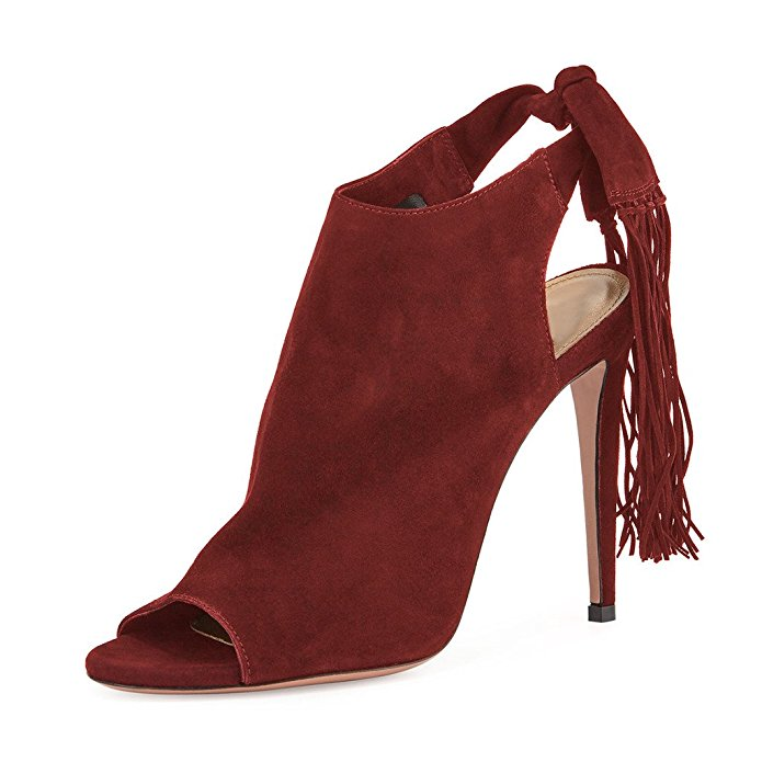 ФОТО Super Elegant Women Pumps 2017 Beautiful Fringe Peep Toe Thin Heels Pumps Black Brown Wine Red Violet Shoes Woman Plus Size 4-15