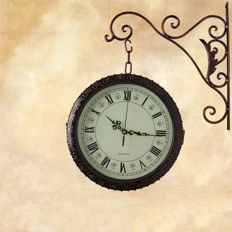iron mute large creative wall clock living room double sides wall clocks decorative relogio. Black Bedroom Furniture Sets. Home Design Ideas