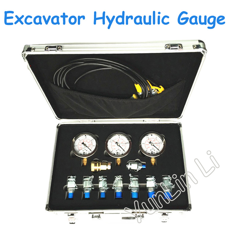 Excavator Hydraulic Gauge with Tool Box Test Table, Combination Meter, Pressure Gauge, Manometer XZTK-60M as510 cheap pressure gauge with manometer 0 100hpa negative vacuum pressure meter