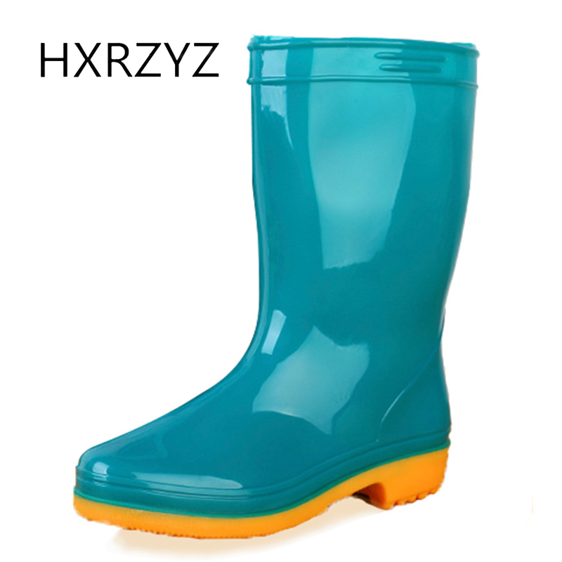 HXRZYZ female rubber boots women rain boots spring and autumn new fashion Slip-Resistant waterproof PVC jelly color shoes women hxrzyz big size rain boots new fashion non slip rubber boots waterproof fishing boots in the tube rain shoes women