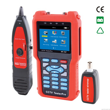 Free shipping, NOYAFA NF-707 CCTV Tester CCTV Video Tester with PTZ & RS485 controlling and Optical power meter functions