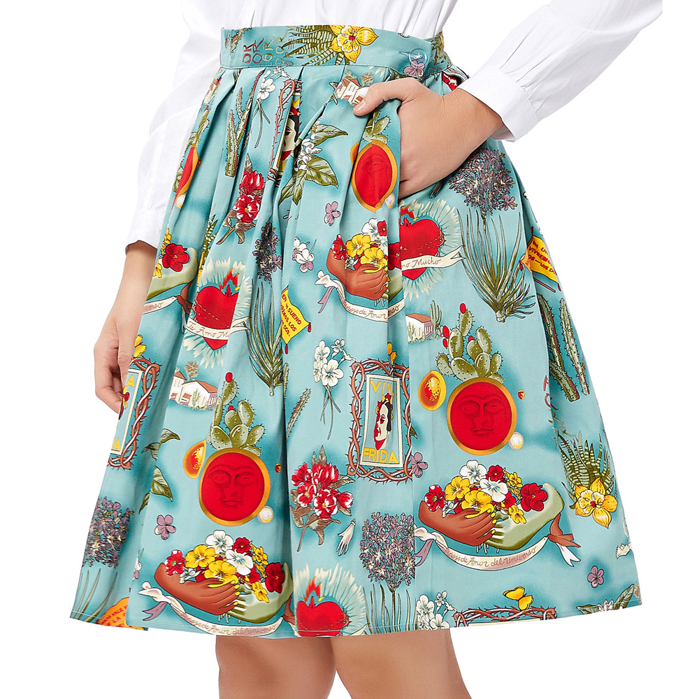 7 Styles Women Girls Ladies Casual Vintage Floral Print Vintage Skirt Mid Calf A Line 50s