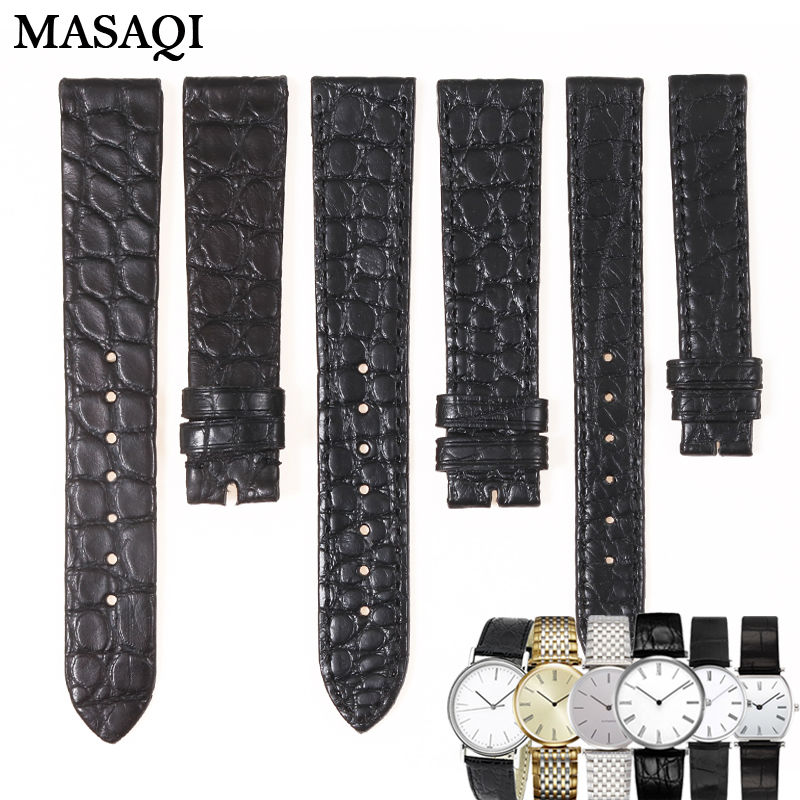 MASAQI High Quality Alligator skin Leather Round WatchBand Black Genuine Leather Watch Strap for Longines L4708/L4209 18mm/13mm longines часы купить в москве