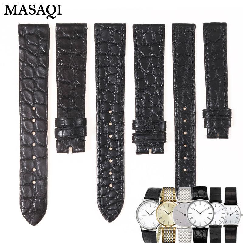MASAQI High Quality Alligator skin Leather Round WatchBand Black Genuine Leather Watch Strap for Longines L4708/L4209 18mm/13mm часы longines