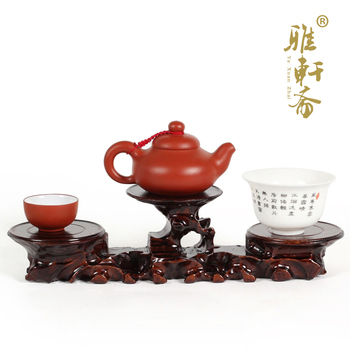 Z Zhai Jade Carved Stone Gallery] rosewood handicrafts base teapot base high and two low.