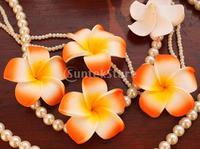 100x Wedding Party Hawaiian Frangipani Foam Plumeria Flower Head Orange