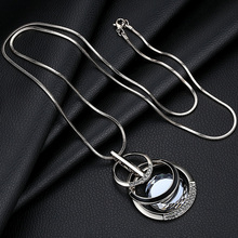 Crystal Pendants Silver Chain Long Necklace