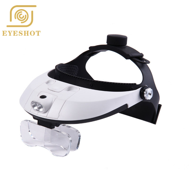 Headband 5 Lens Binoculars Third Hand Magnifier Light Jewelry Repair Reading Magnifying Glass dental loupes 2.5x 1.0x 1.5x 2.0x new portable 45x magnifier magnifying glass with light detachable reading engraving jewelry glasses loupes