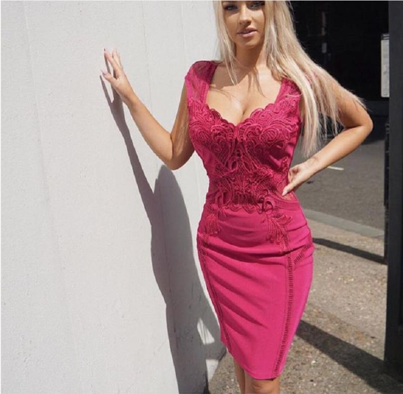 2018 new arrivals summer women dress wholesale hot pink lace bandage dress  party dress dropshipping 09076f8eb7b2