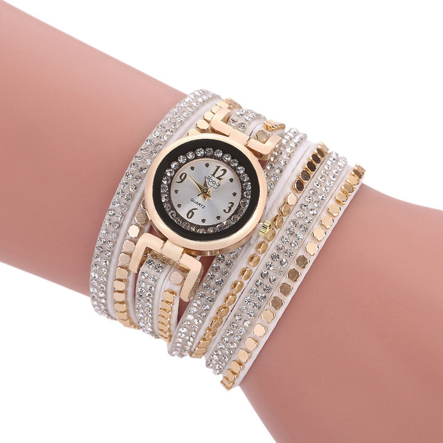 Ladies Fashion Women Vintage Rhinestone Crystal Bracelet Watches Round Case Dial