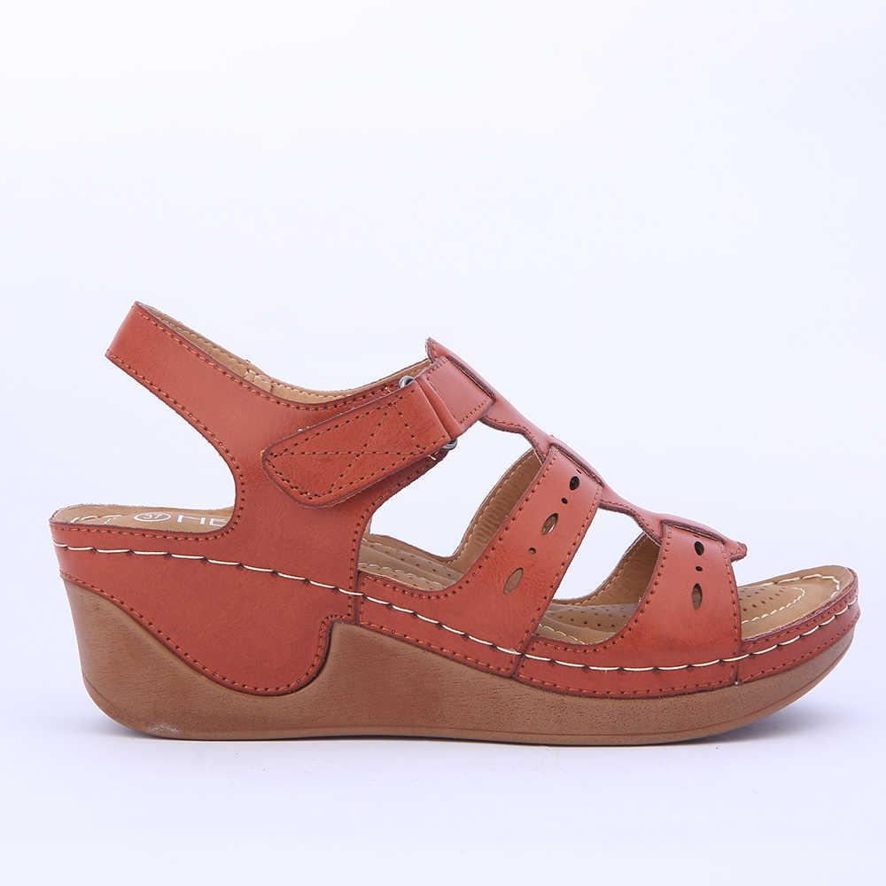 Takozlar Ayakkabı Kadın Sandalet Platformu Rahat Yumuşak Taban Deve Renk Hafif Rahat Gladyatör Yaz Ayakkabı Mama Artı Boyutu